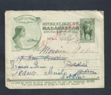 LETTRE TYPE IMPRIMÉE ILLUSTRÉE RÉPUBLIQUE FRANÇAISE MADAGASCAR AMBOSITRA 1932 : - Madagascar (1889-1960)