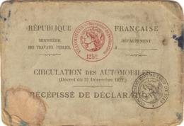 Vieux Papier De Peugeot P50, Déclaration Du Vélomoteur à Oloron (64), 1949, Récépissé + Bar-tabac-essence Bergeret - Documents Historiques