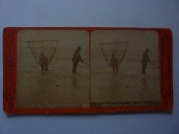"Fotografia Stereoscopica ""MARINES INSTANTANEES  Pecheurs De Crevettes"" Paris, 1880 Circa. - Stereoscopio"