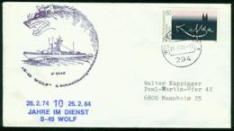 Er Germany Navy Cover, 3. Schnellbootgeschwader, Schnellboot S 49 Wolf, 10 Jahre Im Dienst   Wilhelmshaven 26.2.1984 - Storia Postale