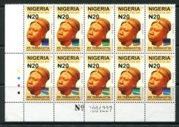 Nigeria 2010-12 20n Ife Terracotta - Type II - Block Of 10 MNH (SG 888) - Nigeria (1961-...)
