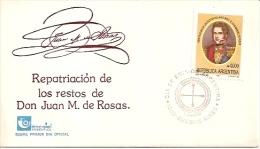 SOBRE ARGENTINA: REPARTRIACIÓN DE LOS RESTOS DE DON JUAN MANUEL DE ROSAS-ENCOTEL ARGENTINA AÑO 1991 TBE FDC GECKO - Ohne Zuordnung