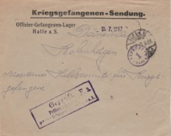 Allemagne Kriegsgefangenen Sendung HALLE 15/7/1917 Cachets Censure à Danemark - Officier Prisonnier De Guerre - Allemagne