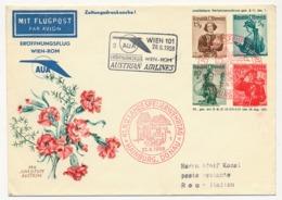 """AUTRICHE - Enveloppe Pro Juventute 1951 Avec Repiquage Et Cachets """"1er Vol WIEN - ROM - Austrian Airlines"""" 1958 - Enteros Postales"""