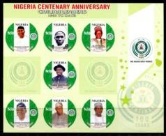 Nigeria 2014 Centenary Anniversary Imperf. Sheetlet MNH - Nigeria (1961-...)