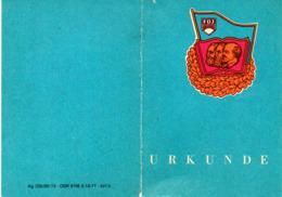 """(Kart-ZD) DDR FDJ Urkunde """"ABZEICHEN FÜR GUTES WISSEN IN BRONZE"""" Ausgest. 14.4.1981 - Diplomas Y Calificaciones Escolares"""