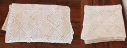 DESSUS DE LIT PATCHWORK Crochet  En Coton Blanc Entièrement Fait Main. FRANCE - Unclassified