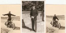 Lot De 3 Photographies De CRS, Gendarme à Moto, Entrainement à Satory Sur Une BMX Type R25 (?) En 1960 + Tenue à Issy - Coches