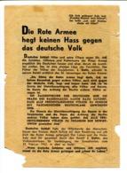 "WWII WW2 Tract Flugblatt Leaflet Soviet Propaganda Against Germany ""Die Rote Armee Hegt Keinen Hass..."" CODE 922 (4) - 1939-45"