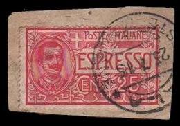 Frammento: ESPRESSO 25 C. Rosa - Bollo 25/4/1915 - 1900-44 Victor Emmanuel III.