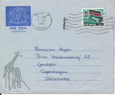 Kenya Aerogramme Sent To Denmark Nairobi 6-10-1966 Giraffe Cachet - Kenya (1963-...)