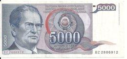 YOUGOSLAVIE 5000 DINARA 1985 VF P 93 - Joegoslavië