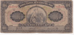 PEROU / 100 SOLS / 16 DE SETIEMBRE 1954 / SERIE G4 / RARE - Perú