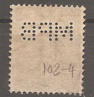 15c Perforé MPB 102 - Semeuse N° 130 - Perfin - - France