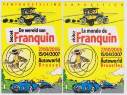 FRANQUIN  Ed Marsu - Lot 2 Cartes  Bande Dessinée Exposition Bruxelles Voiture - CPM 10,5x15 TBE 2006 Neuves - Illustrators & Photographers