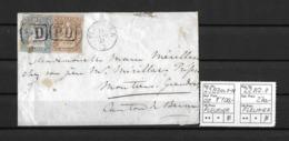 1854-1862 Helvetia (ungezähnt) → 1857 PD-Brief Von Fleurier Nach Moutier  ►SBK-23B3m.II-IV & 22B2.II◄ - 1854-1862 Helvetia (Non-dentelés)
