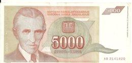 YOUGOSLAVIE 5000 DINARA 1993 VF P 128 - Joegoslavië