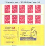 FRANCE - Carnet TVP Lamouche Rouge - YT 3744 C2 / Maury 549 - Usados Corriente