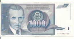 YOUGOSLAVIE 1000 DINARA 1991 VF+ P 110 - Joegoslavië