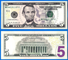 Usa 5 Dollars 2013 Neuf UNC Mint Dallas K11 Suffixe E Que Prix + Port Etats Unis United States Dollars US Skrill Paypal - Large Size - Groot (...-1928)