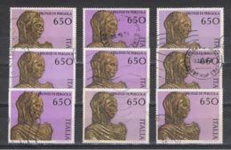 REPUBBLICA:  1988  ARTE  -  £. 650  POLICROMO  US. -  RIPETUTO  9  VOLTE  -  SASS. 1838 - 6. 1946-.. Repubblica