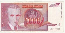 YOUGOSLAVIE 1000 DINARA 1992 VF+ P 114 - Joegoslavië