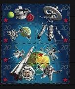 DDR - Mi-Nr. 1636 - 1643 Achterblock Aus Kleinbogen 10 Jahre Bemannte Sowjetische Weltraumflüge Postfrisch - Blocs