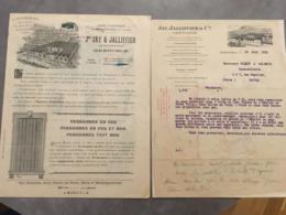 GRENOBLE LOT DE 2 DOCUMENTS JAY ET JALLIFFIER FERMETURE EN FER  FACTURE + BROCHURE - Frankreich