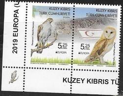 TURKISH CYPRUS , 2019, MNH, EUROPA, BIRDS, OWLS, BIRDS OF PREY,2v - 2019
