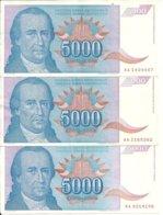 YOUGOSLAVIE 5000 DINARA 1994 XF P 141 ( 3 Billets ) - Joegoslavië