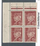 FRANCE - BLOC DE 4 N°YT 515 NEUF* AVEC CHARNIERE VARIETE KEPI EFFACE SUR LES 2 DU HAUT - Curiosities: 1941-44 Mint/hinged