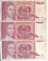 YOUGOSLAVIE 10 DINARA 1990 VG+ P 103 ( 3 Billets ) - Joegoslavië