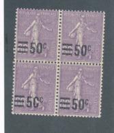 FRANCE - BLOC DE 4 N°YT 223 NEUF* AVEC CHARNIERE VARIETE 0 DE 50C EFFACE - 1926/27 - Abarten Und Kuriositäten