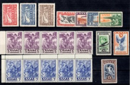 Grèce Poste Aérienne YT N° 5/7 *, N° 8/14 * Et N° 24/25 ** MNH. TB. A Saisir! - Unused Stamps