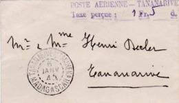 """MADAGASCAR : Griffe """" Poste Aérienne Taxe Perçue 1fr50 Sur Mignonette De Tananarive . Courrier Intérieur De 1945 - Madagascar (1889-1960)"""