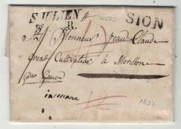 Suisse // Schweiz // Switzerland // Préphilatélie // Lettre Au Départ De Sion 1832 - Zwitserland