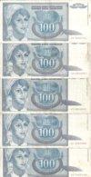 YOUGOSLAVIE 100 DINARA 1992 VF P 112 ( 5 Billets ) - Joegoslavië