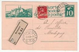 Suisse // Schweiz // Switzerland // Entier Postaux // LEntier Postal Recommandé Pour Martigny 3.09.1924 (image Neuchâtel - Entiers Postaux