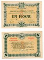1914-1918 // C.D.C. // AVIGNON // Août 1915 // SPECIMEN  // Un Franc // Sans Filigrane - Specimen