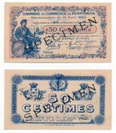 1914-1918 // C.D.C. // PERPIGNAN // Novembre 1915 // SPECIMEN  // Cinquante Centimes // Sans Filigrane - Fictifs & Spécimens