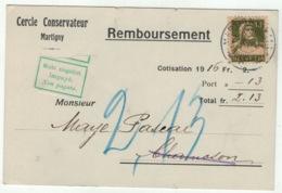 Suisse // Schweiz // Switzerland // 1907-1939 //  Carte De Remboursement 29.01.1917  Martigny - Lettres & Documents