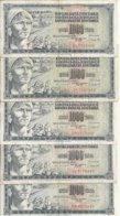 YOUGOSLAVIE 1000 DINARA 1981 VF P 92 D ( 5 Billets ) - Joegoslavië