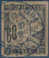 France Colonies Tonkin Taxe N°11 60c Noir Obl Dateur Bleu De Nam-Dinh Superbe Et RR - Impuestos