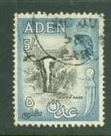 Aden: 1953/63   QE II - Pictorial    SG68   5/-   Black & Deep Dull Blue   Used - Aden (1854-1963)