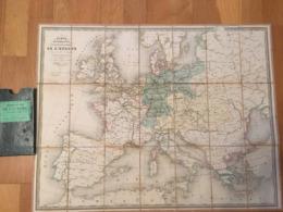 CARTE ENTOILEE DES CHEMINS DE FER DE L'EUROPE ET NAVIGATION A VAPEUR MAISON PARIS - Mapas