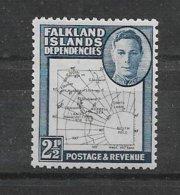 VV17 - Falkland Islands** - George VI En Médaillon Et Cartographie -  Tirage Du 6.3.1949 - ( Lettres Noires Lisibles ) - Falkland Islands