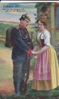 AK Liebchen...ade - Deutscher Soldat Mit Junger Frau - Patriotika - Künstlerkarte - Feldpost Fürth 1915 (45009) - Guerre 1914-18