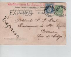 CBPN24/ TP 76 GB-83 S/CP Mondorf-les-Bains En Exprès C.Huppaye 4/8/1910 Brabant Wallon > Rocour Pas Courant - 1905 Barba Grossa