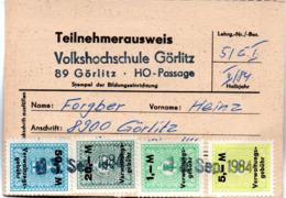 "(Kart-ZD) DDR Teilnehmerausweis ""Volkshochschule Görlitz"" Lehrgang 5/EI II/84 - Old Paper"