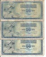 YOUGOSLAVIE 50 DINARA 1978 VG+ P 89 B ( 3 Billets ) - Joegoslavië